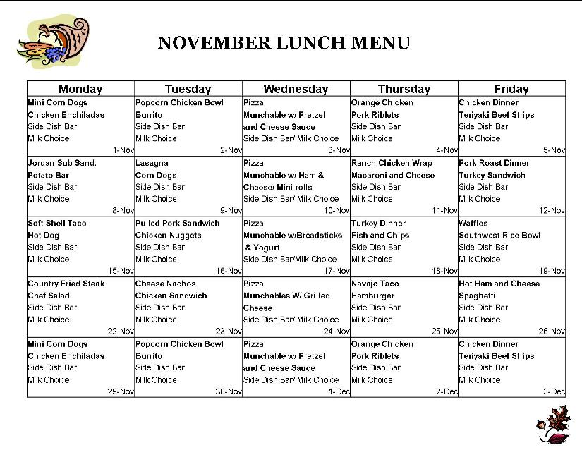 School Lunch Menu  School Lunch Ideas